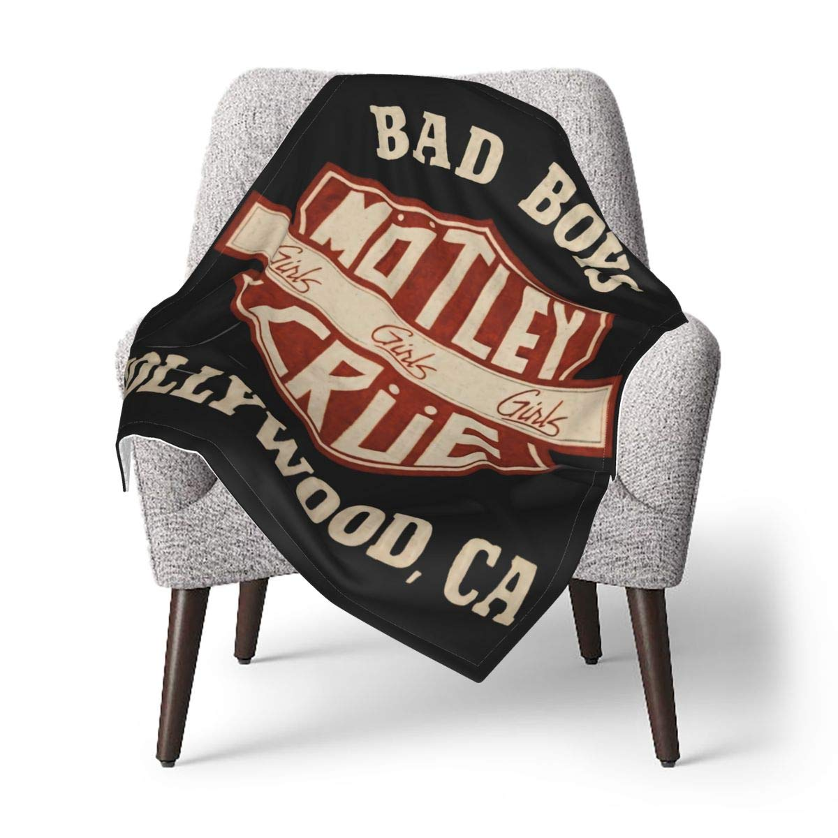Motley Crue Baby Blanket Super Soft with Double Layer Dotted Backing for Boys and Girls 30 X 40 Inches,Double Layer with Receiving Blanket