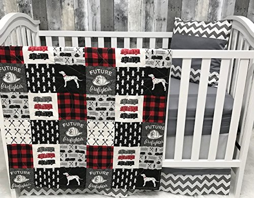 Baby Boy Nursery Set , Baby , Firefighter , Fire Truck , Fire Fighter, Baby Bedding , Crib Bedding , Babylooms - Fire Truck Fitted Crib