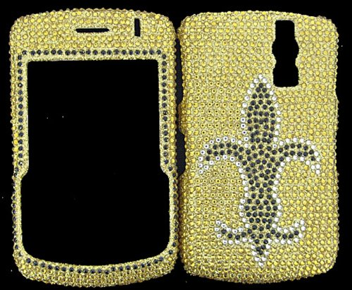 FULL DIAMOND CRYSTAL STONES COVER CASE FOR BLACKBERRY CURVE 8300 8320 8330 FLEUR DI LES ON GOLD Blackberry 8300 Curve Faceplate Cover