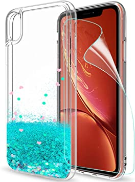 LeYi Funda iPhone XR Silicona Purpurina Carcasa con [2-Unidades Cristal Vidrio Templado],Transparente Cristal Bumper Telefono Gel TPU Fundas Case Cover para Movil iPhone XR ZX Turquoise: Amazon.es: Electrónica