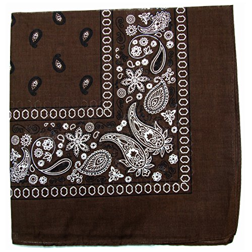 Paisley One Dozen Cowboy Bandanas (Dark Brown, 22 X 22 (Brown Bandana)