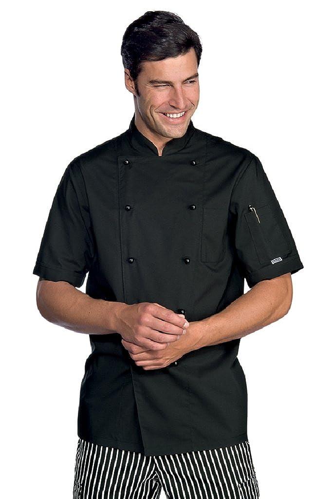 Novaplus Kochjacke Kochbekleidung schwarz kurzarm mit Kockjackenknöpfe 2050