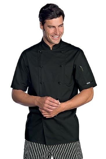 Giacca da cuoco acrion nero a maniche corte da uomo  Amazon.it   Abbigliamento e11876a9d0a2