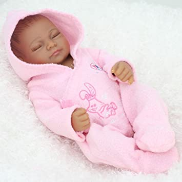 Amazon com 11 inch mini black cute alive newborn sleeping baby dolls silicone full body african american washable for girl by terabithia toys games
