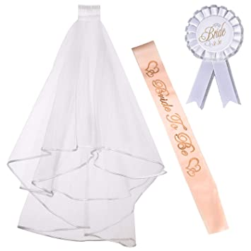 iLoveCos Bride to Be Sash Hen Do Accessories Bridal Wedding Veil with Comb White 2pcs