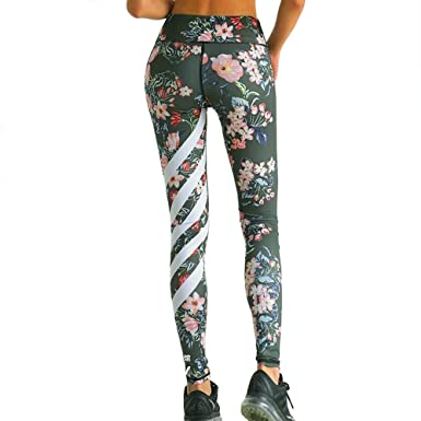 53e06bc628897a Corriee Womens Floral Printed High Waist Fitness Yoga Pants Striped Trousers  Skinny Stretch Leggings Army Green