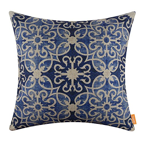 LINKWELL 18x18 inches Modern Blue and White Pattern Burlap Throw Pillowcase Cushion Cover (CC1292) ()