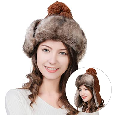bf0751c393e43 Womens Wool Knitted Trapper Trooper Faux Fur Earflaps Hunting Ourdoor Ear  Cover Ski Snowboard Sports Beanie Hats Bomber Ushanka Brown  Amazon.co.uk   ...