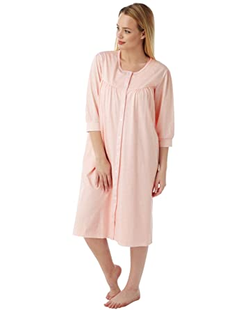complimentary shipping good texture buy online Ladies Knitted Jersey Button Through Housecoat Dressing Gowns
