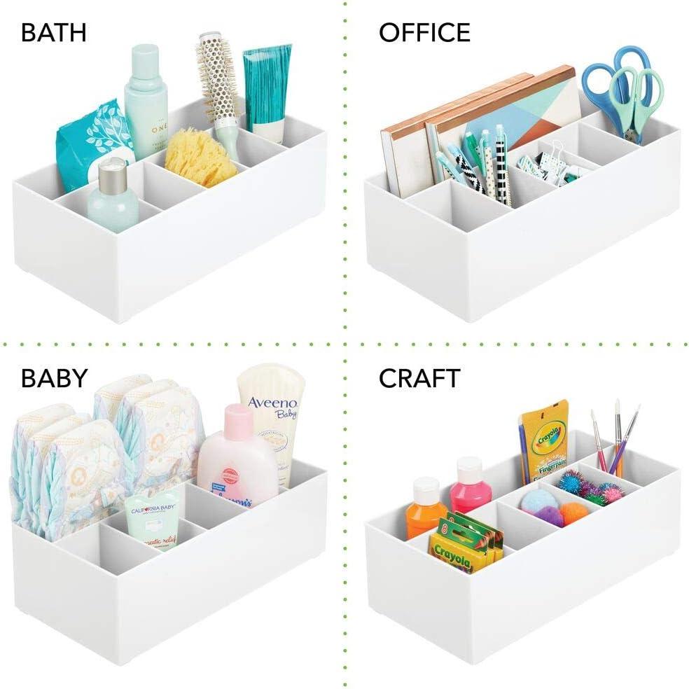 wei/ß mDesign Schminkaufbewahrung f/ür Wasch- oder Schminktische moderner Kosmetik Organizer mit 6 F/ächern Aufbewahrungsbox aus BPA-freiem Kunststoff f/ür Make-up