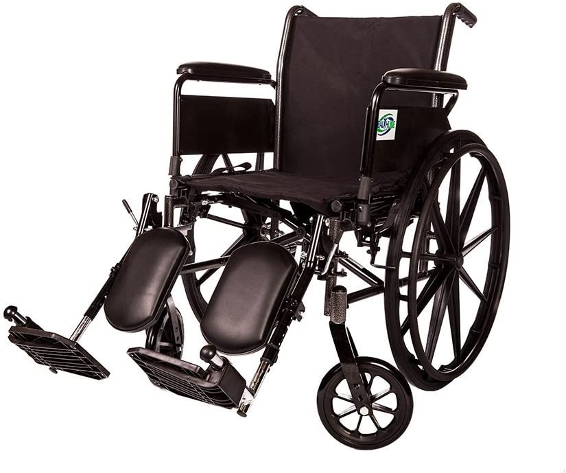 Lightweight Folding Wheelchair Detachable Full Arm and Removable/Detachable Elevating Legrests by Healthline (18 61iFIh8jy8LSL1055_
