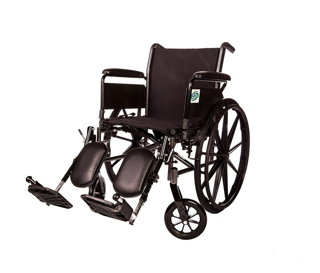 Lightweight Wheelchair Arm Detachable with Elevating Legrest By Healthline Trading (18'' FULL ARM)
