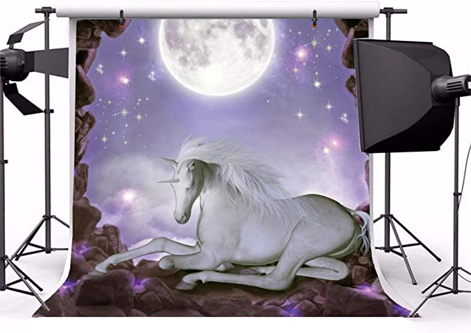 Fantasy 10x12 FT Photo Backdrops,Young Woman with A Dog Under Huge Moon Starry Sky Celestial Magical Friendship Art Background for Baby Shower Bridal Wedding Studio Photography Pictures Navy Coral