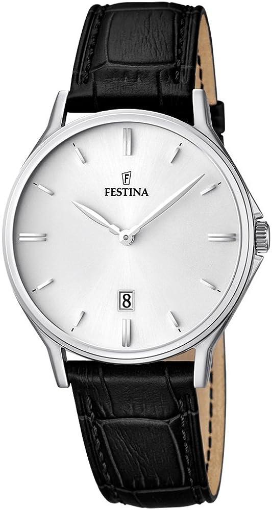 Festina Señor Reloj de Pulsera Reloj de Cuarzo analógico de Acero Inoxidable Reloj con Pulsera de Piel y Fecha. Todos los Modelos F16745, Variante: 02