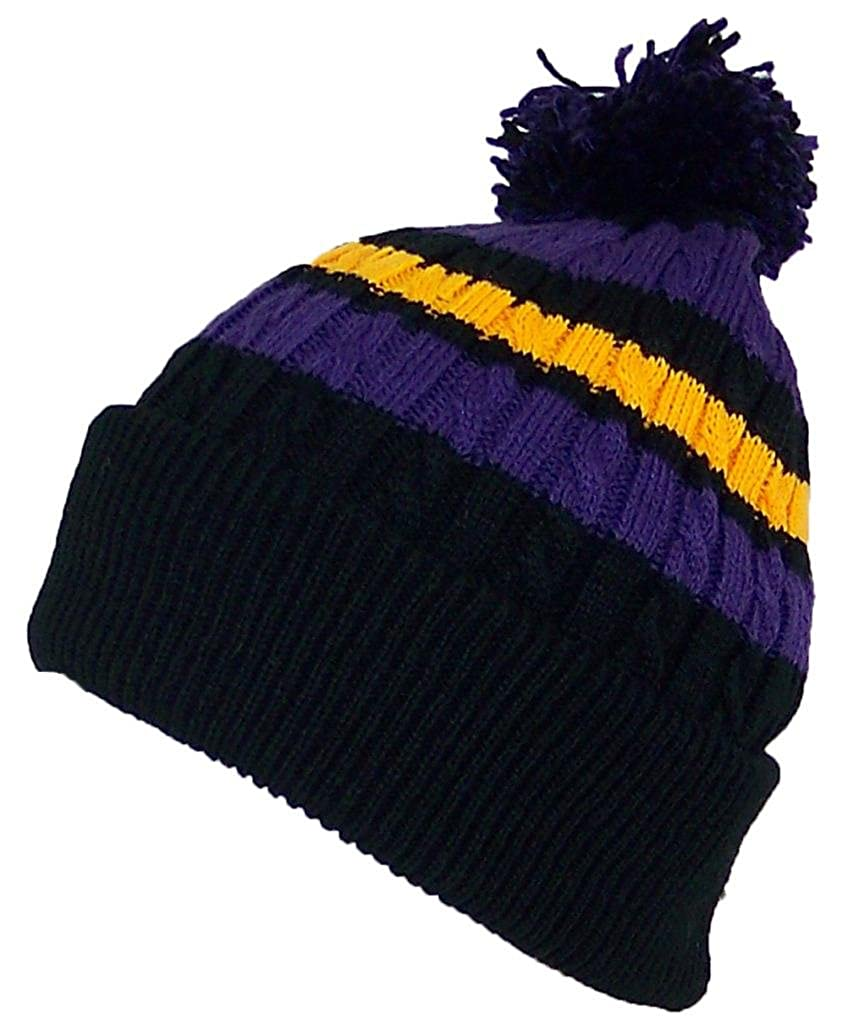 Amazon.com  Best Winter Hats Quality Cable Knit Cuffed Winter Hat W Large  Pom Pom (One Size)(Fits Large Heads) - Black Purple Gold  Clothing b00e8ca3a42