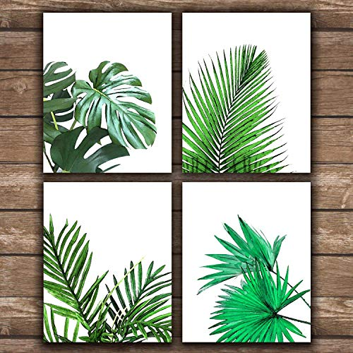 Alivehaus - Palm Leaf Tropical Botanical - Wall Art Prints on Paper - Modern Farmhouse Rustic Decor - (Set of 4) - 8