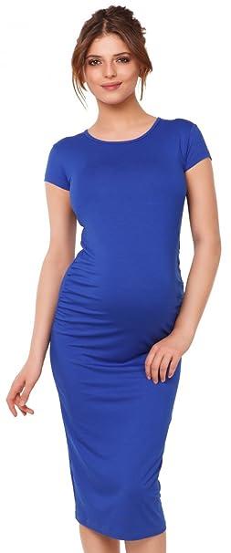 Maternity vestido ajustado premamá manga corta cuello redondo. 183p (Azul Real