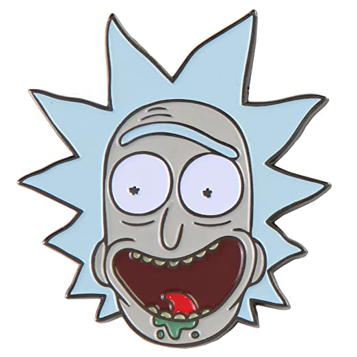amazon com rick and morty enamel pin rick s face clothing