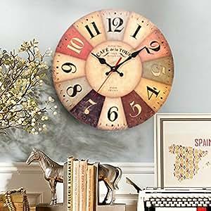cococina arte redondos de madera reloj de pared mecanismo de cuarzo Vintage rústico Decor