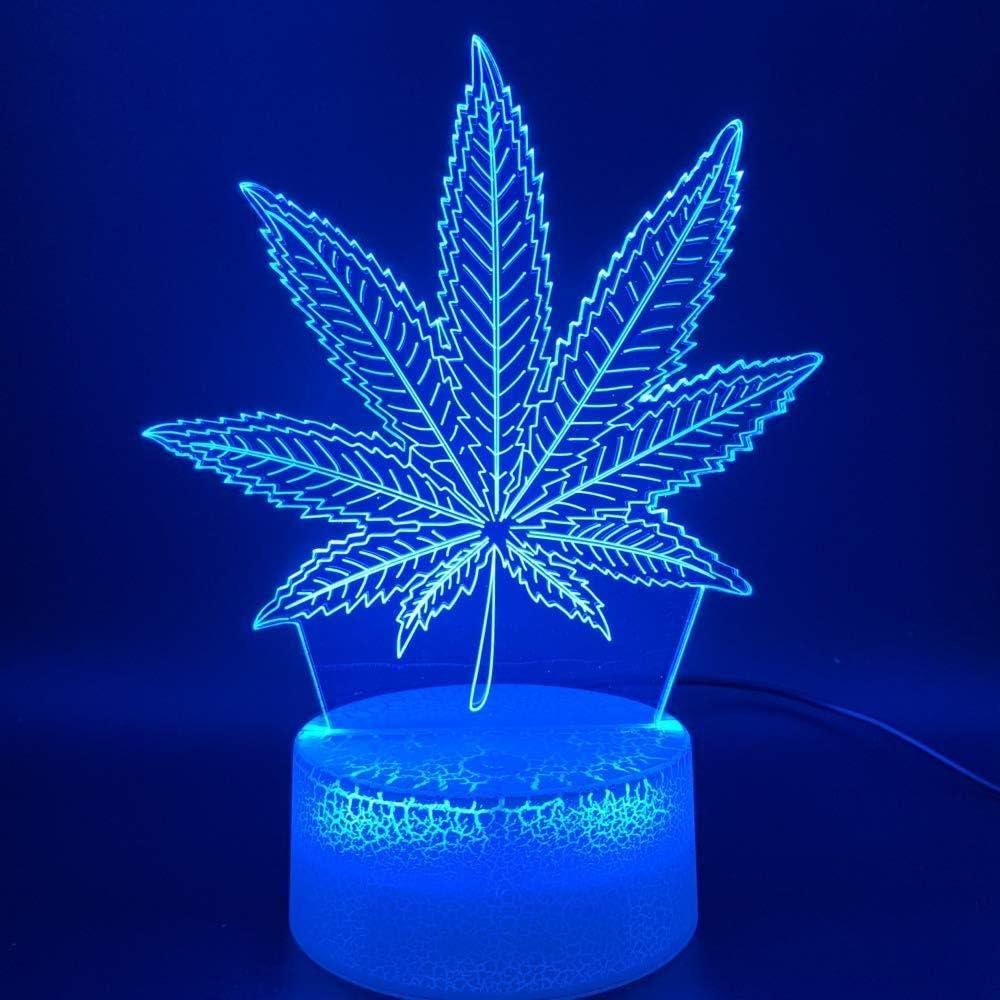 Ilusión 3D Led Lámpara de luz nocturna Botánica Cannabis Marihuana Oficina Bar Habitación Lámpara decorativa USB o con batería Luz nocturna