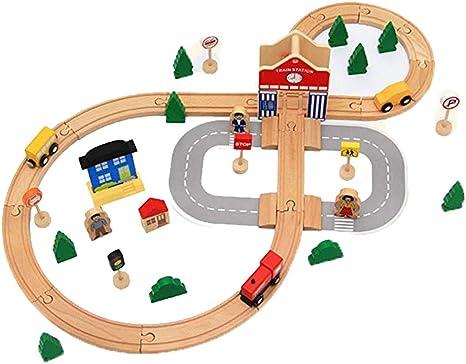 LXWM Vía de Madera Tren pequeño Pequeño 8 Palabras Pista DIY Puzzle Juguete ensamblado 50 PCS: Amazon.es: Deportes y aire libre