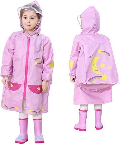Unisex Kids Child Waterproof Jacket Hooded Raincoat Rain Coat Poncho Rainwear CB