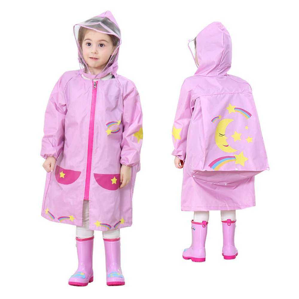 LOHOME Unisex Kids Raincoat - Children's Hooded Raincoat Teens Jacket Space Poncho with School Bag Cover Rainwear (S (Fit 2.95~3.44ft Height), Pink Moon)