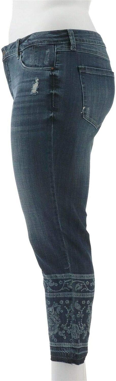 Laurie Felt Denim Printed Stiletto Jeans Drop Hem Dark Wash 10 NEW A305694
