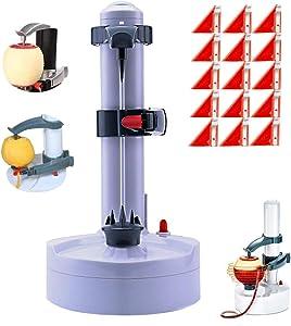Electric Potato Peeler Rotato Express2.0 + 18 Replacement Blades Automatic Rotating Fruits Fruit Potato Peeler Vegetables Cutter Apple Paring Machine Kitchen Peeling Tool (White)