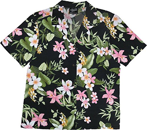 RJC Women Orchid Plumeria Camp Shirt Black 1X Plus