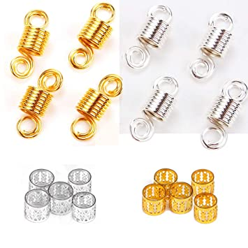 120PCs Hair Dreadlocks Bead Cuff Clip.Decoration Filigree Tube Gold/&Silver 10 MM