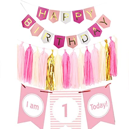 Amazon Com Imagitek Baby Girl 1st Birthday Decorations Pack One