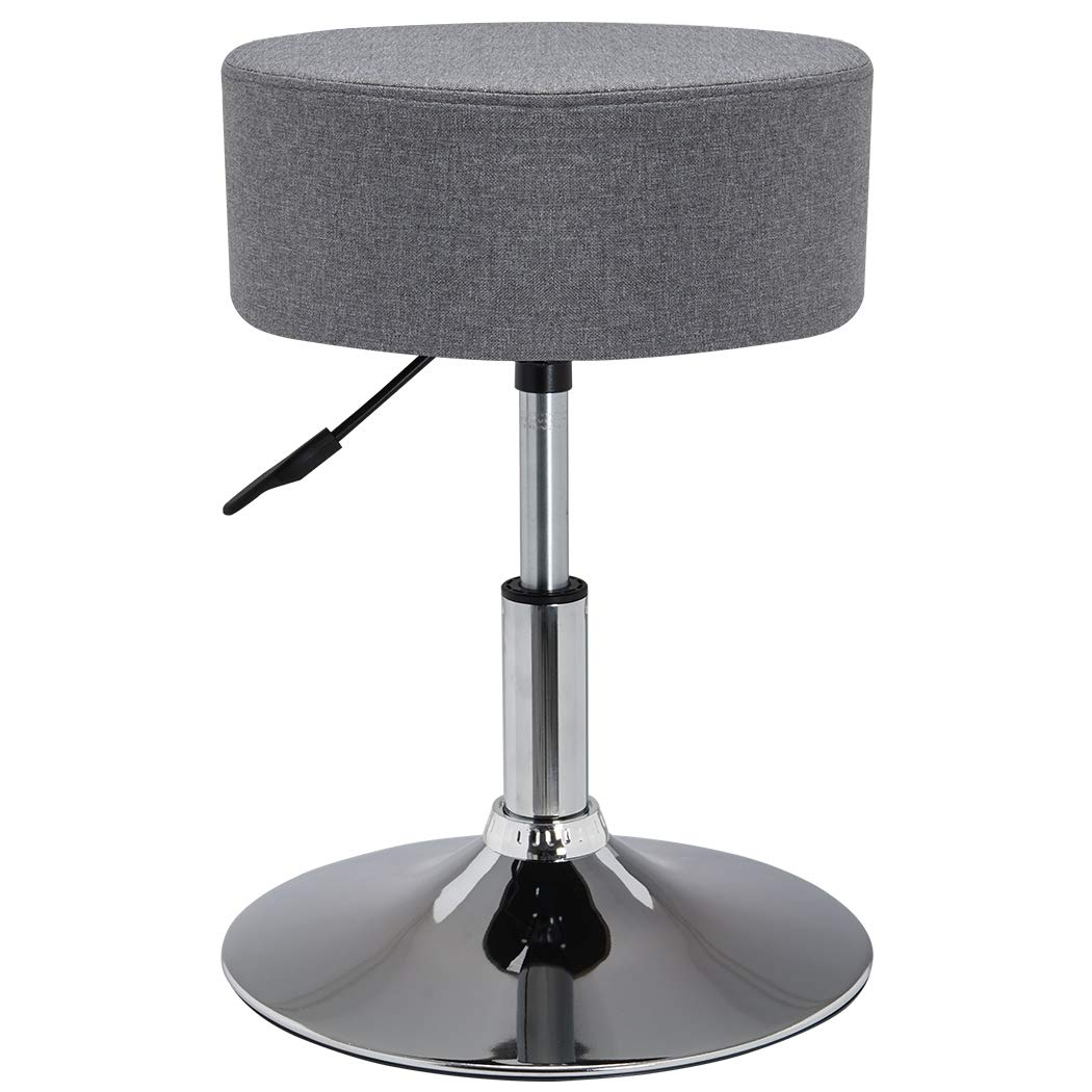 Duhome Swivel Stool made of Fabric Linen Grey Height Adjustable Stool Round Colour Selection 428S