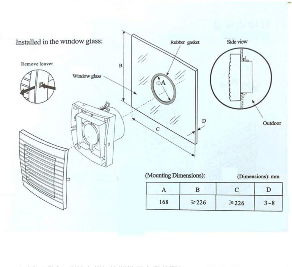 200mm Abluftventilator Abzugshaube K/üche Bad Fenster Decke Wand 6 Zoll