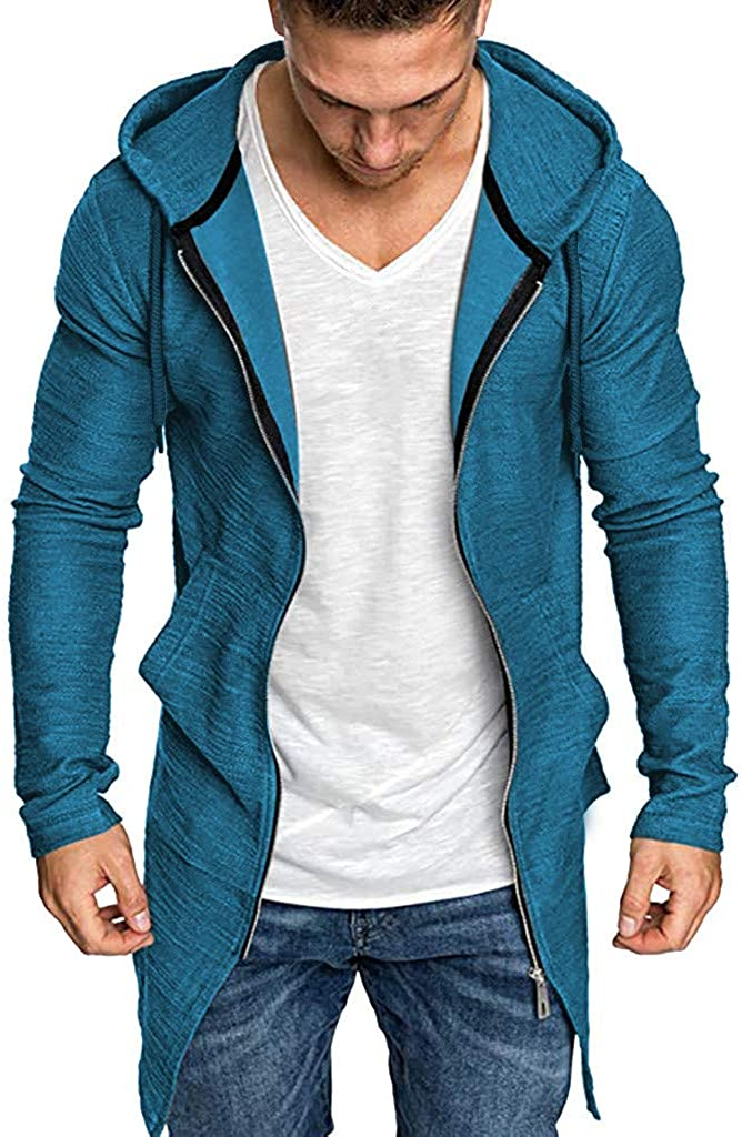 Men Splicing Hooded Solid Trench Coat Jacket Cardigan Long Sleeve Outwear Blouse Mens Spring Fashion 2020