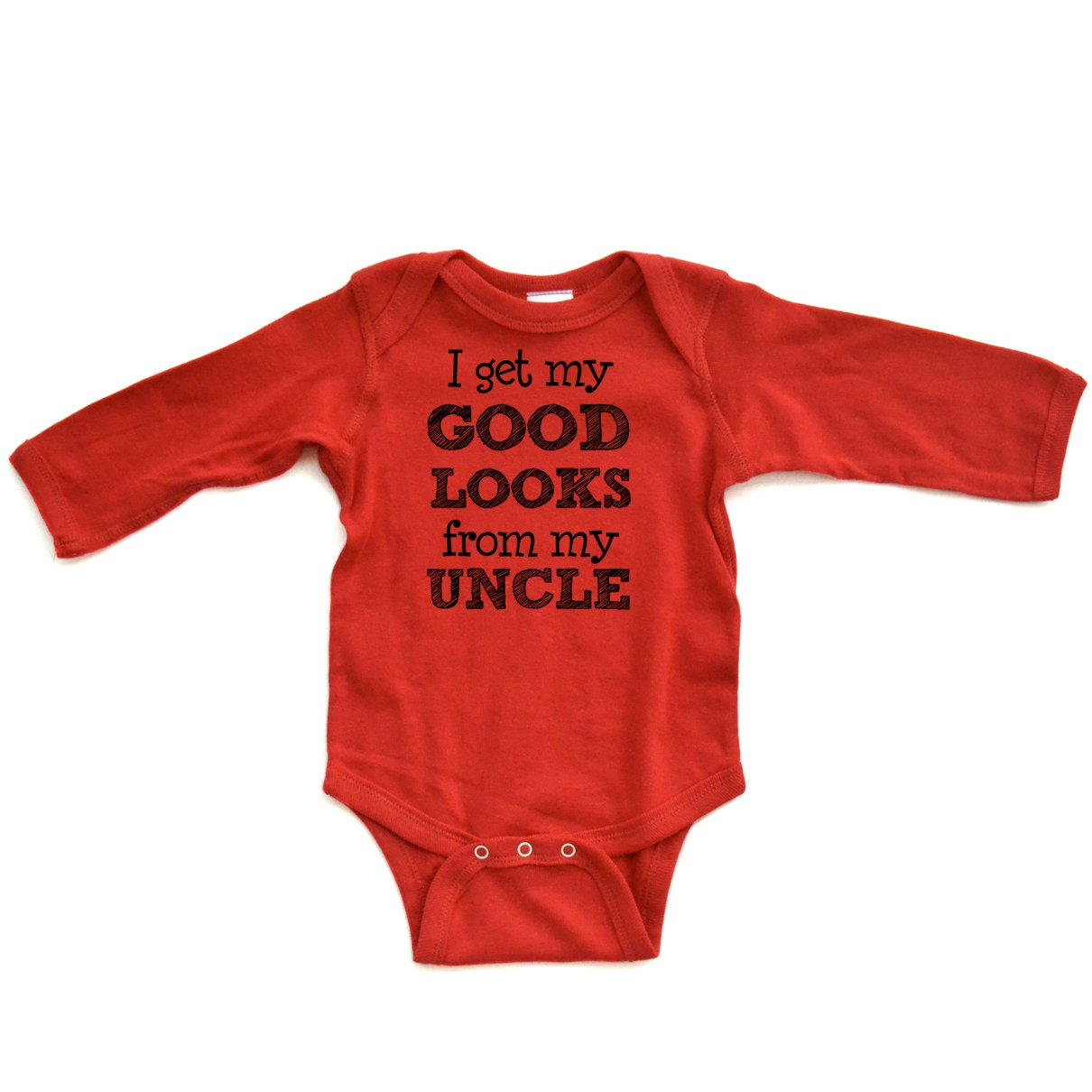 Amazon.com: Apericots I Get My Good Looks From My Uncle Long Sleeve Baby Bodysuit: Clothing