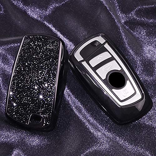 Luxury 3 4 Buttons 3D Bling Smart keyless Entry Remote Blade Key Fob case Cover for BMW 1 2 3 4 5 6 7 M Series,BMW X1 X3 X4 M2 M3 M4 M5 M6 Black
