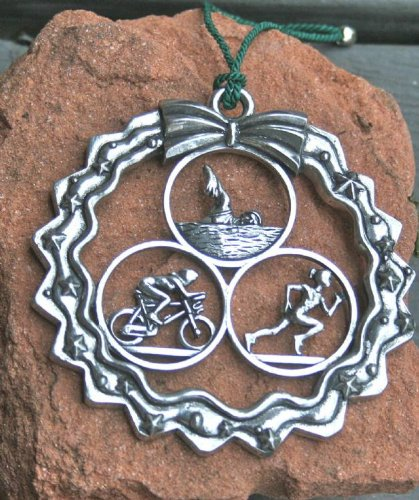 Dana Paige Designs Triathlon Ornament in Wreath - Female - Handmade Triathlon Ornaments Decorations - Unique Holiday Triathlon Gifts for Triathletes (Ornament Holiday Bicycle)