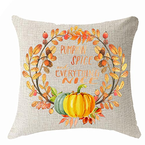 Happy fall gift maple leaves pumpkin autumn harvest Throw Pillow Cover Cushion Case Cotton Linen Material Decorative 18 x18 Square (18x18 inches, 3)