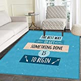 Motivational Print Area rug Philosophical Life Message to Raise Faith in Yourself and Your Strength Perfect for any Room, Floor Carpet 4'x6' Blue Peach Black