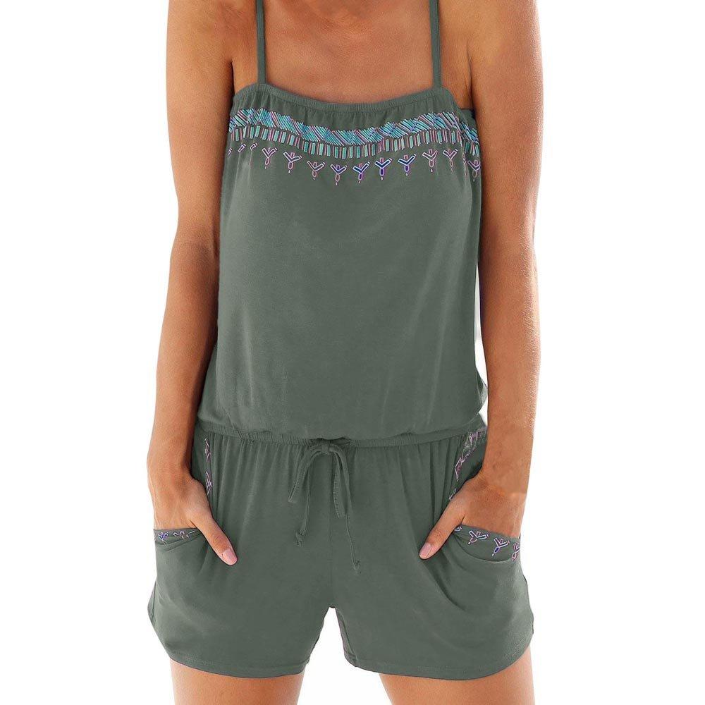 Chanyuhui Jumpsuits for Women Bohemia Print Bandage Sleeveless Short Beachwear Romper Jumpsuit Bodysuit Playsuit (M, Army Green)