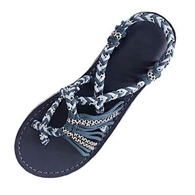 51307e4e9 Flat Sandals for Women Strap Braided Hiking Hemp Rope Flip Flops Beach  Slipper Arch Support Summer