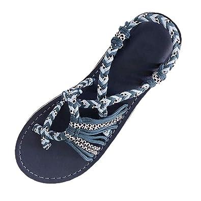 aliexpress san francisco newest WUDUBE Chaussures de Plage Femmes Corde de Chanvre Tongs Été ...