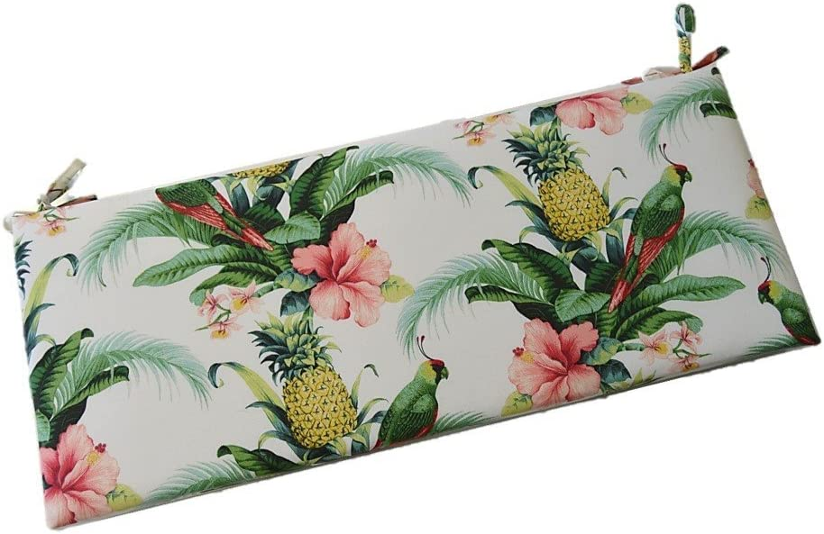 Tommy Bahama Home Fabric – White Beach Bounty Lush Green – Tropical Bird, Pineapple, Floral 2 Thick Foam Swing Bench Glider Cushion with Ties and Zipper – Choose Size 39 x 19