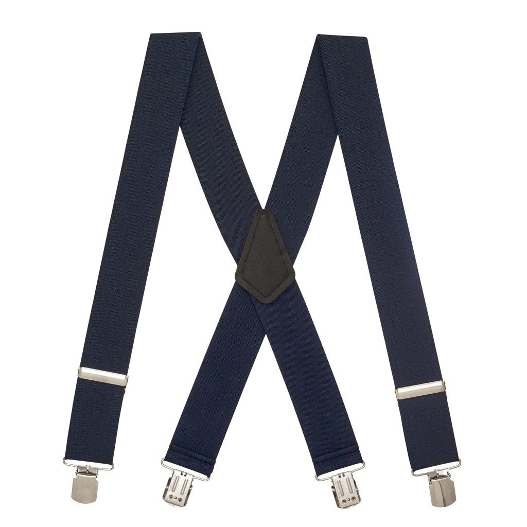 SuspenderStore Men's NAVY 2-Inch Wide Pin Clip Suspenders