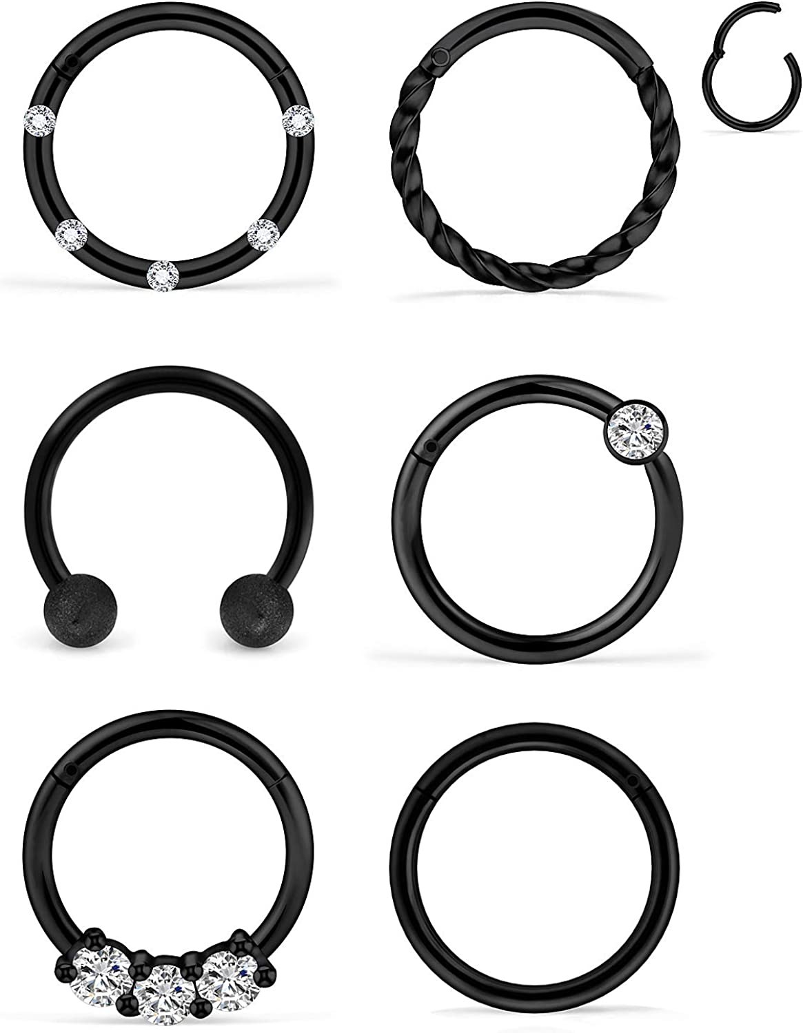 Body piercing 316L SS Crystal Design Segment Ring Conch Tragus hoop Septum clicker Daith Nose ring 16g Hinged Rook