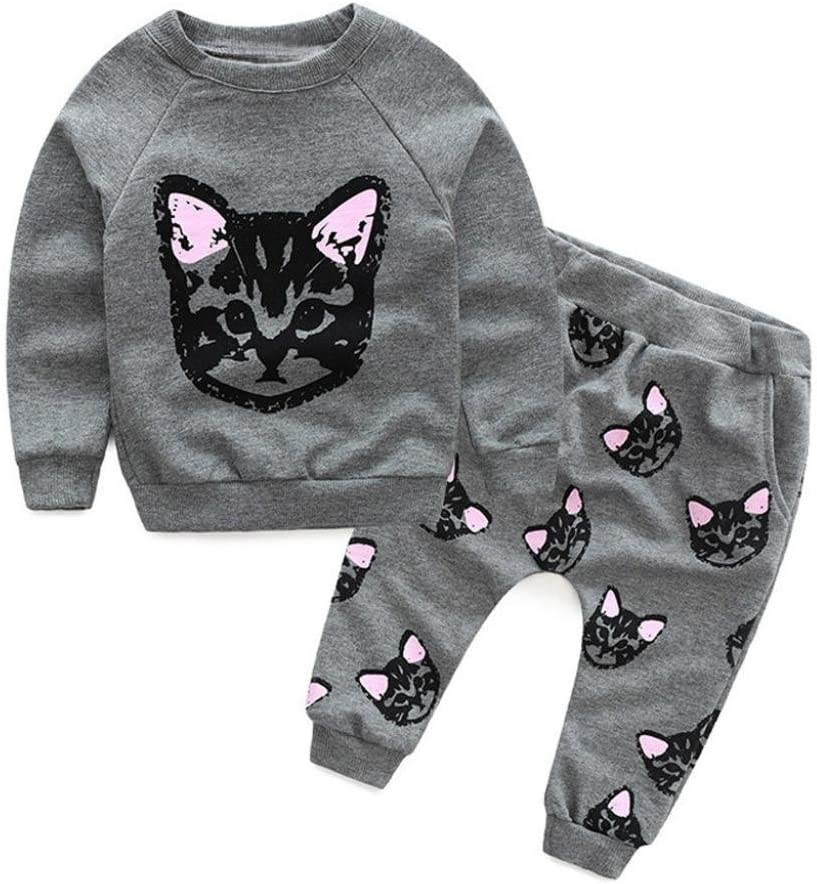 Franterd Long Sleeve Clothes Set Pants Outfits Baby Kids Cats Print Tracksuit