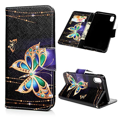 Compatibole for iPhone Xs Max Case, MOLLYCOOCLE Wallet Case Butterfly PU Leather Kickstand Feature Stand Credit Card Holders Flip Folio TPU Soft Bumper Ultra Slim Fit Cover for iPhone Xs Max 6.5