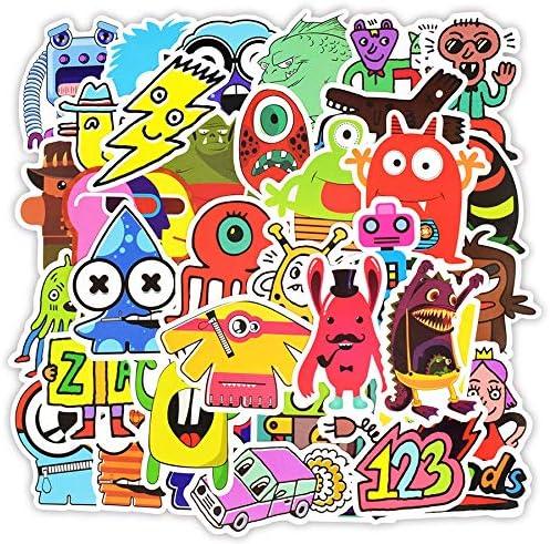 XXCKA Doodle Stickers Funny Little Monster Robot Decal Sticker Juguetes de Regalo para niños DIY Laptop Nevera Maleta Monopatín Coche 50 Unids