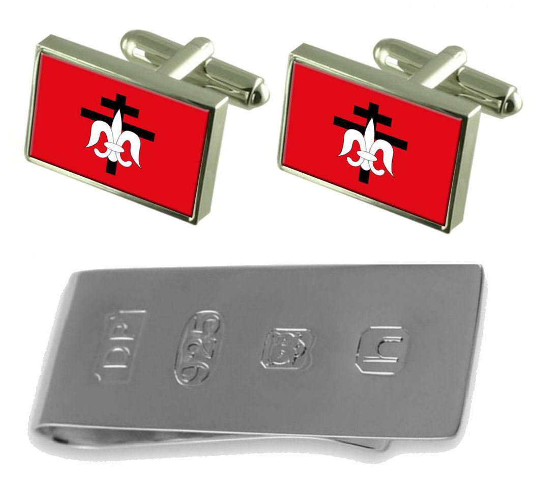 Lorena City Sao Paulo State Flag Cufflinks & James Bond Money Clip